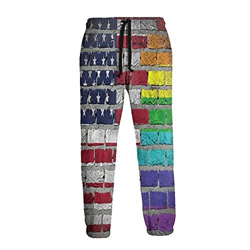 Pantalones de chándal de la bandera LGBT de ladrillo de la pared de los hombres novedad pantalones duraderos Hip Hop pantalones ropa deportiva con bolsillos, multicolor, XL