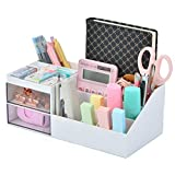 Citmage Desk Organizer Caddy with 12 Compartments Office Workspace Drawer Organizers Desktop Holder Plastic Stationery Storage Box for Pencils,Markers,Erasers,Pens,Sticky Notes,Stapler (White)