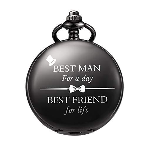 TREEWETO Taschenuhr - Personalisiert Graviert Best Man Taschenuhr Quarz Fobwatch - Bräutigam Geschenke Für Hochzeit | Trauzeuge Geschenke -Trauzeuge Taschenuhr Hochzeitsgeschenk