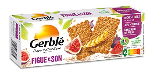 Gerblé, Biscuits Figues et Son, Allegés en sucres, Riches en fibres, Sans huile de palme, 1 boîte de 25 biscuits, 210 g