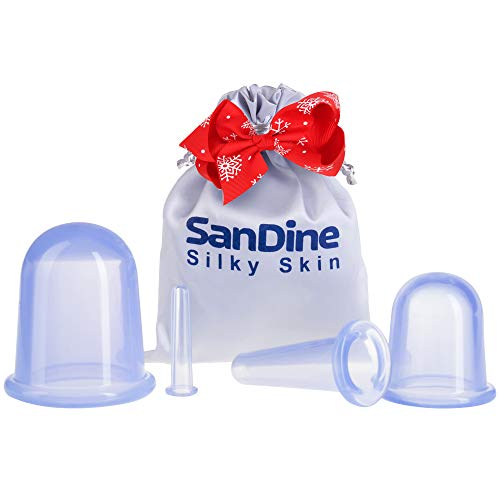 Silicone Cupping Set - Face Cupping Therapy Sets - Anti Cellulite Cups - Perfect Double Chin Reducer - Ideal to Shape your Cheeks and Chin - Facial Massage Kit - by Sandine (Blue)