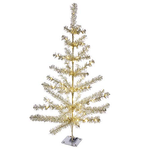 Kurt S. Adler 36-Inch Battery-Operated Sterling Feather 100 Lights Christmas Tree, White, Silver
