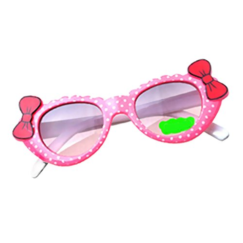 Kinder Baby Mädchen Weichen Kunststoffrahmen Sonnenbrille Anti UV Brille Mode Brillen - Rosa Weiß
