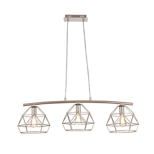 Suspension Design, 3 Lampe, Style Moderne, Loft, Armature en Métal couleur beige, plafonniers geometriques en Métal couleur beige, 3 ampoules, excl. 3 E14 40W 220V