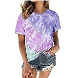 Elesoon Camiseta de verano para mujer con teñido degradado anudado color degradado bloque más tamaño de manga corta suelta camisa blusa, A-azul, 48