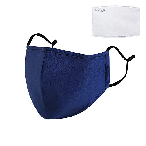 Outdoor Anti-dust Mask,Windproof Cycling Washable Cotton Facemask with Breathe Filters Face Cover for Outdoor Sports Motorcycles (1 mask + 1 filter, Navy blue) -  JJUYUUA