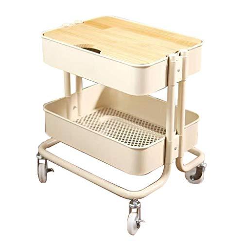Lagerregal 2-Tier Metall-Dienstprogramm Rollwagen, mit Holzplatte for Bibliothek Office Klassenzimmer Home Storage Wagen Serving Rollwagen Friseursalon-Werkzeugwagen