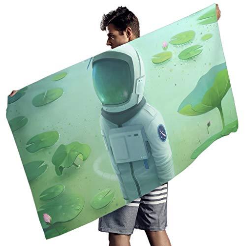 MINNOMO Fantasy Astronaut Grüner Lotusteich Druck Badetücher Abstrakt Strandtuch White 150x75 cm