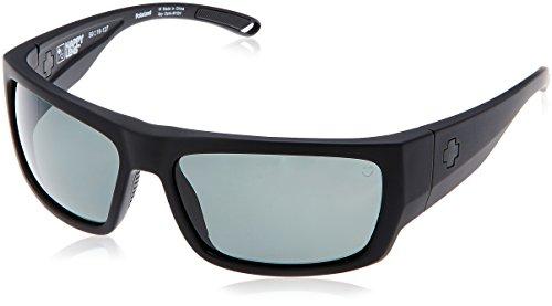 Spy Optic Rover Square Sunglasses, Soft Matte Black/Happy Gray/Green Polar, 1.5 mm
