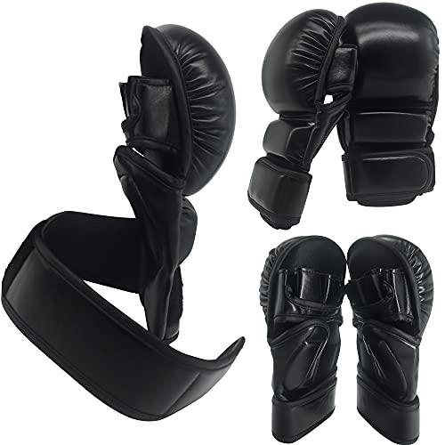 MMA Handschuhe | Extra Dicke Polsterung! | Sparring | Kampfsport | Training | Boxen | Grappling | Schwarz