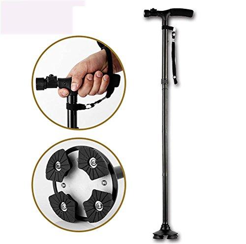 RUIRUI Canne de Pliage de Marche à LED avec Sac de Transport pour Vieux Gentilhomme ou Dame Alliage d'aluminium Canne Pliable