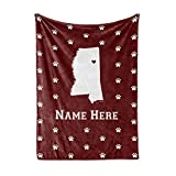 State Pride Series Mississippi - Personalized Custom Fleece Throw Blankets with Your Family Name - Starkville Edition
