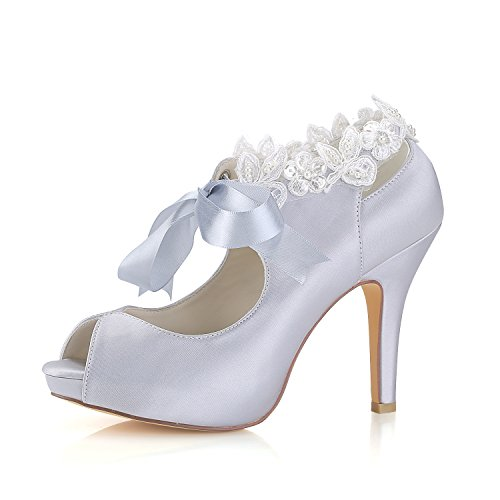 Emily Bridal Zapatos de Boda de Plata Peep Toe de Seda con...