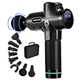 Muscle Massage Gun Deep Tissue - 30 Speed Percussion Massager Handheld Massager Theragun Massage Gun Portable for Athletes Fascia Gun Body Massage with 6 Heads and Carrying Case