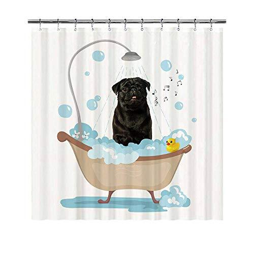 YUNBABA Dog Lover Shower Curtain Black Pug Dog Taking a Shower Lovely Curtains for Bathroom Decor 66x72 Inch