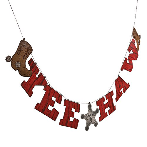 Fun Express - Cowboy Words Hanging Garland for Birthday - Party Decor - Hanging Decor - Garland - Birthday - 1 Piece