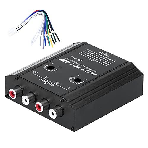 Convertidor de impedancia de audio de 12 V y 4 canales, línea RCA alta a baja, filtro de frecuencia de altavoz de radio estéreo para coche