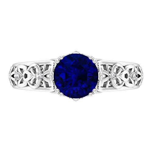 7 MM Blue Sapphire Solitaire Ring, D-VSSI Moissanite Ring, Round Cut Engagement Ring, Vintage Gold Ring for Women, Filigree Ring, 14K White Gold, Blue Sapphire, Size:UK G