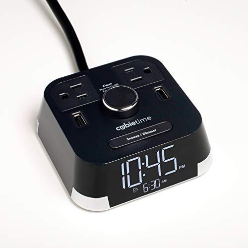 Brandstand   CubieTime   User Friendly & Convenient Alarm Clock Charger   2 USB Ports   2 Tamper Resistant Outlets   Safety Tested- Meets UL Standards