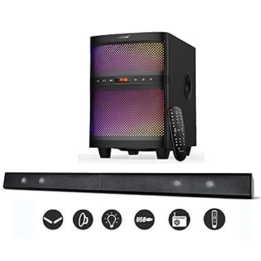 LuguLake TV Sound bar Speaker System with Subwoofer, Bluetooth, Adjustable LED Lights, FM Radio, USB Reader, Composable Floor Speaker