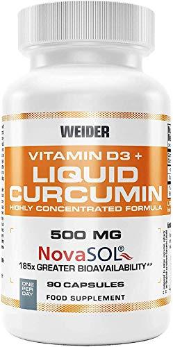 Curcumin Liquid, cúrcuma enriquecida con Vitamina D3, 90 capsulas.