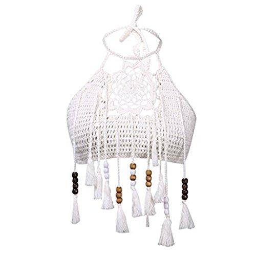 Popbop WANGSCANIS Lady Women's Sexy Hollow Out Crochet Knit Halter Flower Embroidered Tassel Bikini Tops Crop Tank Cami Swimwear White