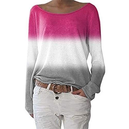 ZFQQ Herbst- und Winter-Damen-Farbverlauf-T-Shirt mit weitem Ärmel und Langen Ärmeln