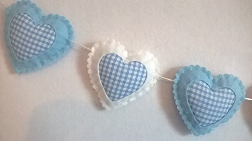 Baby Boys Nursery Decoration Ideas, Bedroom Wall Accessories, Pale Blue and White Gingham Hanging Love Hearts Decorations, Decorative Felt Fabric Bedrooms Bunting Garland Decor. Baby Shower Idea.