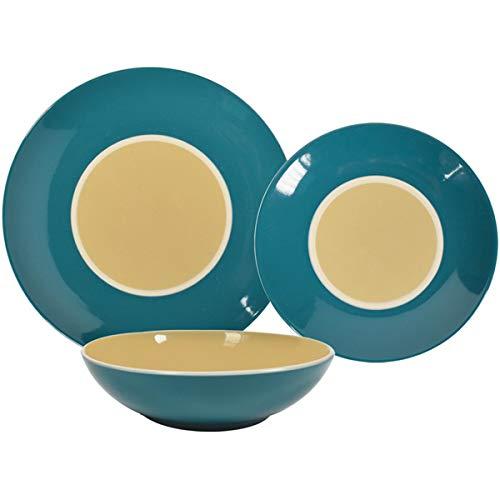 Kasaviva - Juego de platos doble vintage, 18 piezas, color crema