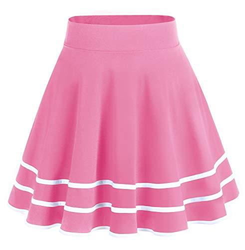 DRESSTELLS Falda Mujer Mini Corto Elástica Plisada Básica Multifuncional