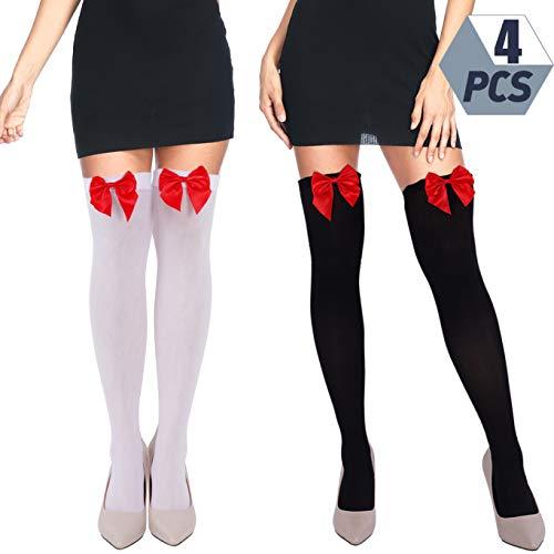 Riky Onberispelijke 4 Paar Vrouwen Boog Kant Dij Hoge Kousen Over De Knie Sokken voor Jurk Dagelijkse Gunsten