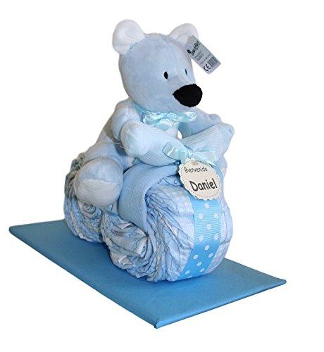 Moto de pañales en color azul, tarta de pañales original ideal como regalo para bebé