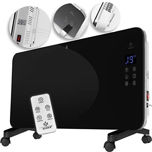 Kesser® Elektro Glasheizung Glaskonvektor Elektroheizung Heizung Heizkörper ✓ Touchscreen ✓ LCD-Display ✓ Timer ✓ Fernbedienung | Stand- oder Wandgerät | 2000 Watt | Farbe: Schwarz