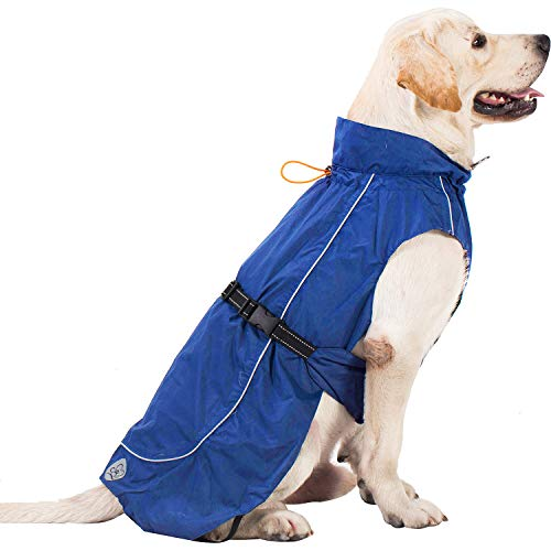 Pro Plums Dog Raincoat Adjustable Lightweight Jacket with Reflective Straps Buckle and Harness Hole Best Gift for Large Medium Small Puppy Dog (L (18''-21''), Vivid Blue)