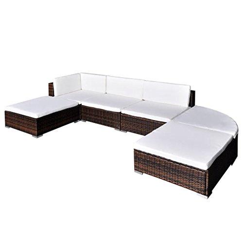 Nishore Rattan Lounge Set Polyrattan Loungemöbel Loungeset Loungegruppe aus PE-Rattan 16-teilig 695 x 695 x 525 mm (L x B x H) - 2