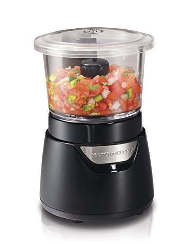 Hamilton Beach Stack & Press Mini 3-Cup Glass Bowl Food Processor & Vegetable Chopper, Black (72860)