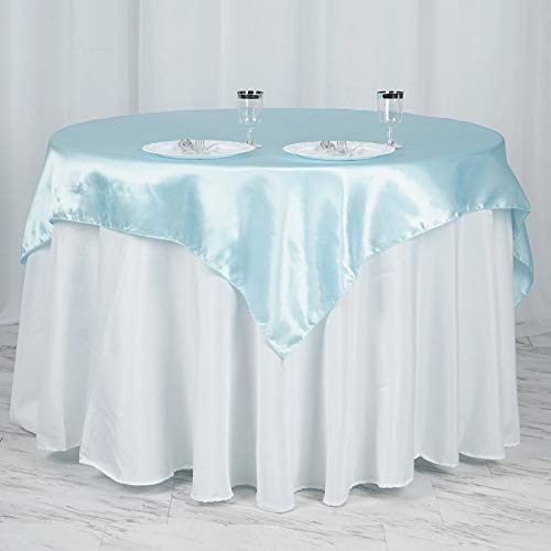 """Efavormart 5pcs 60"""" Satin Square Tablecloth Overlay for Wedding Catering Party Table Top Decorations Light Blue"""