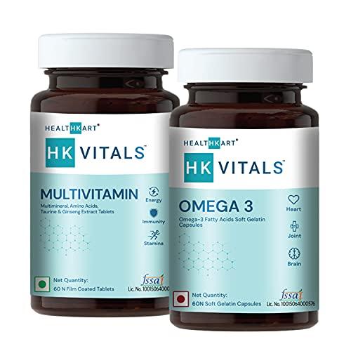 Healthkart Daily Essentials Combo ( Omega 3 Fish Oil + Multivitamin for Men & Women - 60 Tablets each)