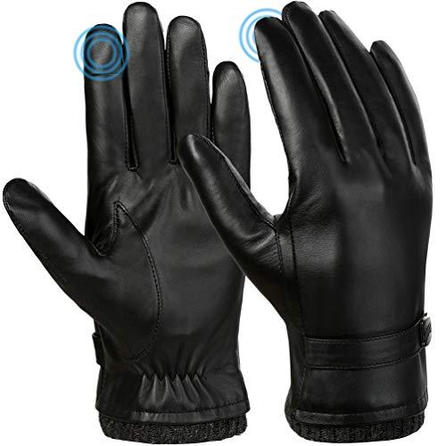VBIGER Hombres Guantes de invierno de cuero genuino Todos los dedos Guantes con pantalla táctil Guantes de moto de conducción cálidos Fleece Guante de trabajo (M)