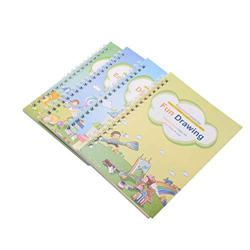SHEDE Paquetes de Libros de Cuaderno Reutilizable Libro de rastreo de números para niños en Edad Preescolar con bolígrafo Juego de Cuaderno de caligrafía mágica práctica Herramienta de Landmark