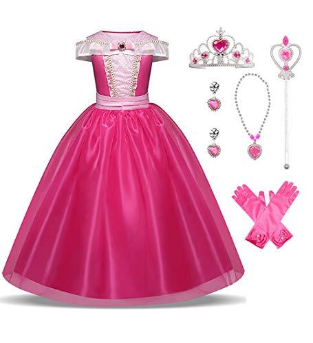 Hamanasu Fille Robe Aurore Princesse déguisement de la Belle au Bois Dormant pour Enfants avec Accessoires(Rouge rosé,7-8Ans/150)