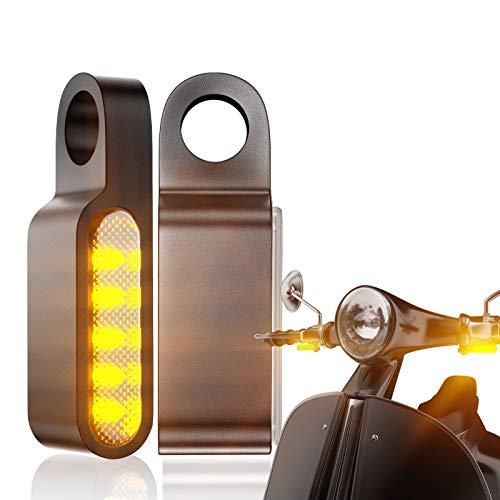 CCAUTOVIE paar Motorrad LED Blinker Indicator LED Mini Blinker Licht E Geprüft für Motorrad Lenkerbefestigung Universal für Harley Yamaha Suzuki BMW Honda Scooter ATV Trike
