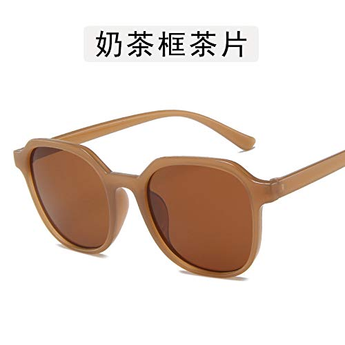 Versión Coreana De Gafas De Sol De Mujer Net Red Calle Patting Gafas De Sol Moda Gafas De Sol De Cara Delgada Gafas De Té De Leche Al Por Mayor 97031-60-20 Rebanadas de té con caja de té de leche