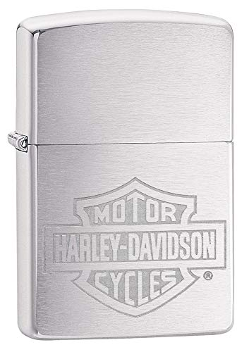 Zippo H-D-Bar & Shield Inciso, Lighter Unisex-Adulto, Silver, One Size