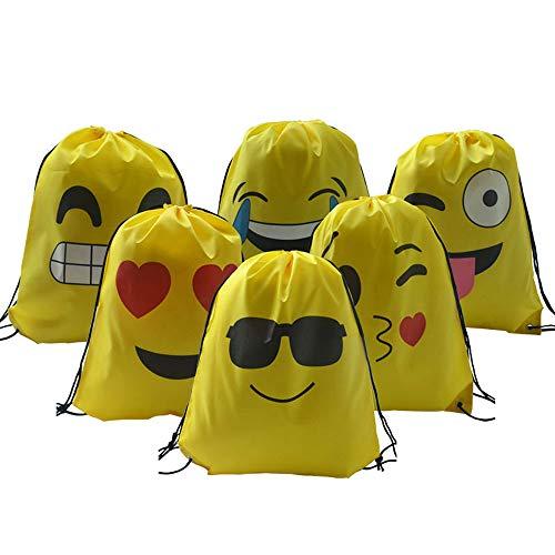 ysister 6 Pezzi Emoji Zaino con Coulisse Sacchetto, Emoji Borse Sacca Sportiva sacche Zaino Drawstring Bag Sacche da Palestra sacchettini per Festa Compleanno Bambini regalino