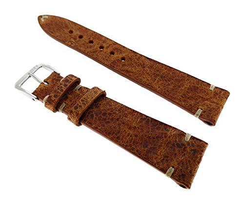 Correa de reloj de piel rústica vintage, 19 mm, cosida a mano, fabricado en Alemania.