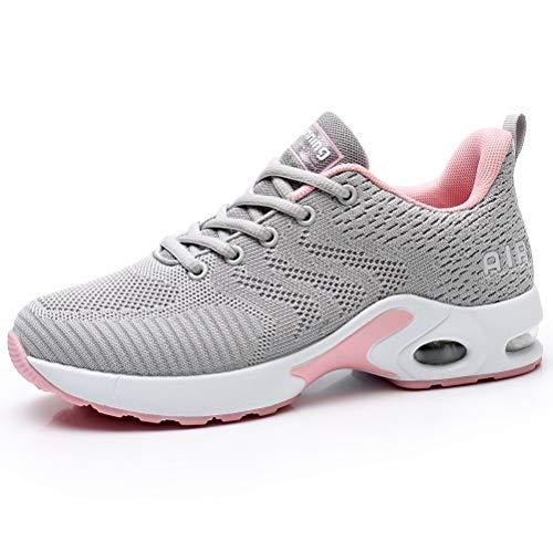 Dannto Zapatos Deporte Mujer Zapatillas Deportivas Correr Gimnasio Casual Zapatos para Caminar Mesh Running Transpirable Aumentar Más Altos Sneakers (Gris,41)