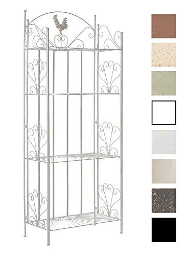 CLP Standregal MIA aus Eisen I Klappregal mit 4 Ablagefächern im Landhausstil I erhältlich, Farbe:antik weiß
