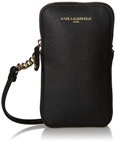 Karl Lagerfeld Paris Saffiano Cell Phone Crossbody, BLK/GOLD