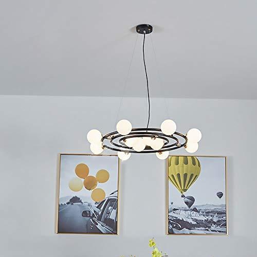 LCSD candelabros Anillo de Estilo Industrial Personalidad Creativa Sala de Estar Comedor Dormitorio Lámpara de Bola de Cristal de Hierro Forjado/Lámpara de araña D78CM